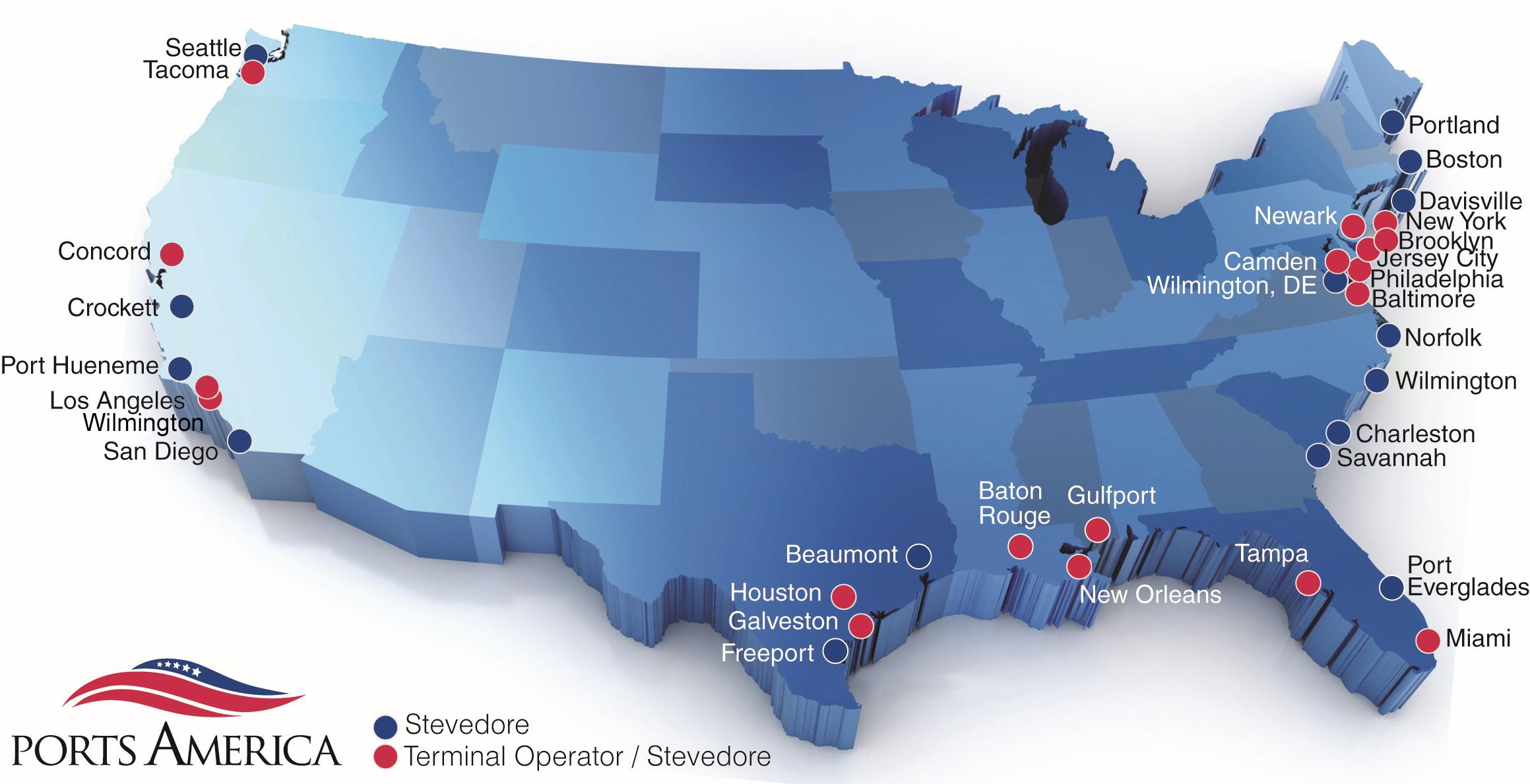 Terminal Operator And Stevedore Ports America - Us-east-coast-ports-map